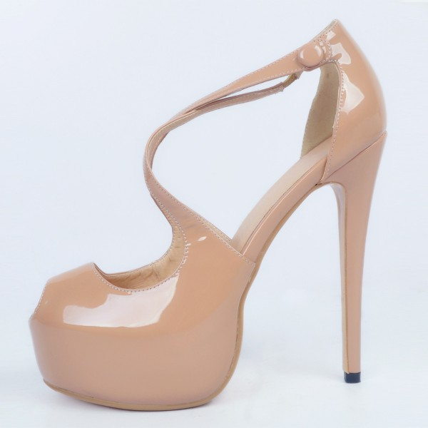 Nude Key Hole Platform Heels Cross-over Strap High Heel Sandals image 4
