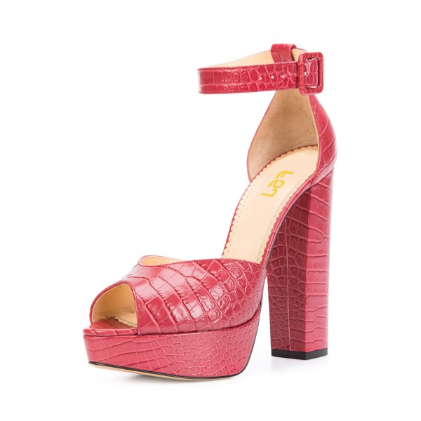 Red Ankle Strap Sandals Peep Toe Alligator Grain Block Heels image 1