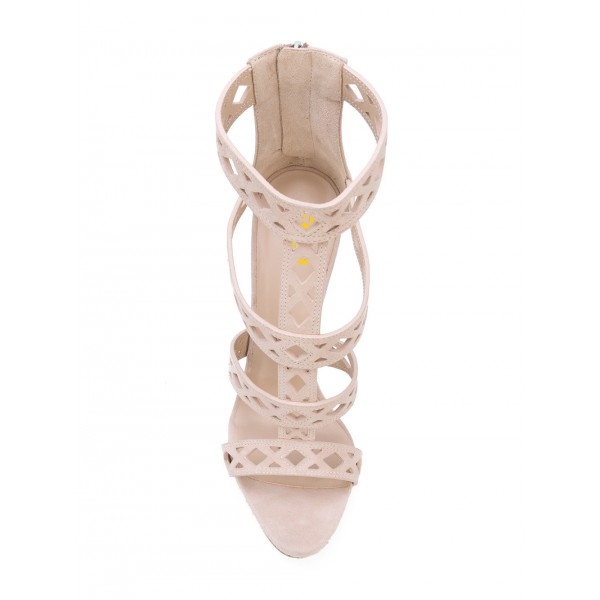 Beige T Strap Sandals Hollow out Open Toe Stiletto Heels image 2