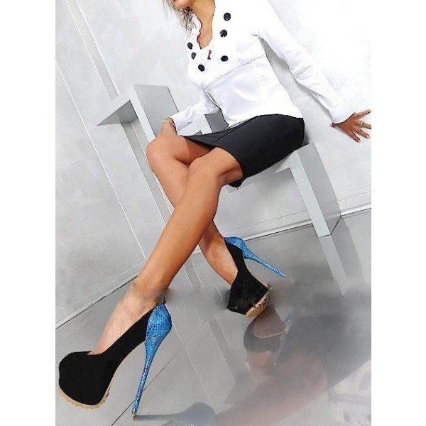 Stripper Heels Black Suede and Blue Python Platform Pumps Shoes image 2