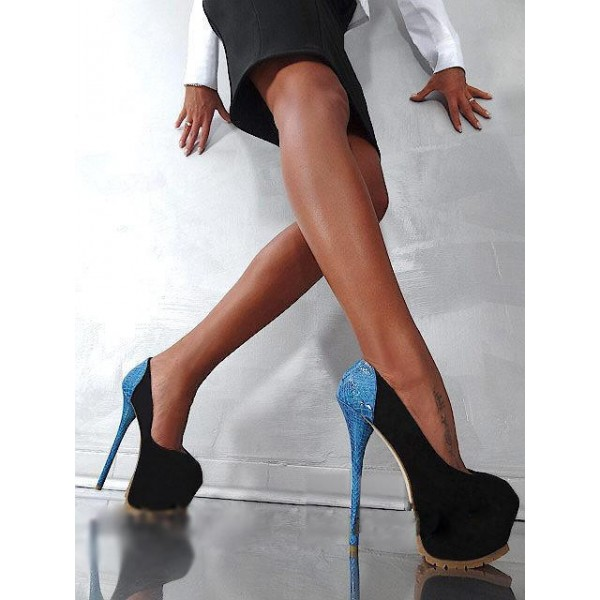 Stripper Heels Black Suede and Blue Python Platform Pumps Shoes image 3