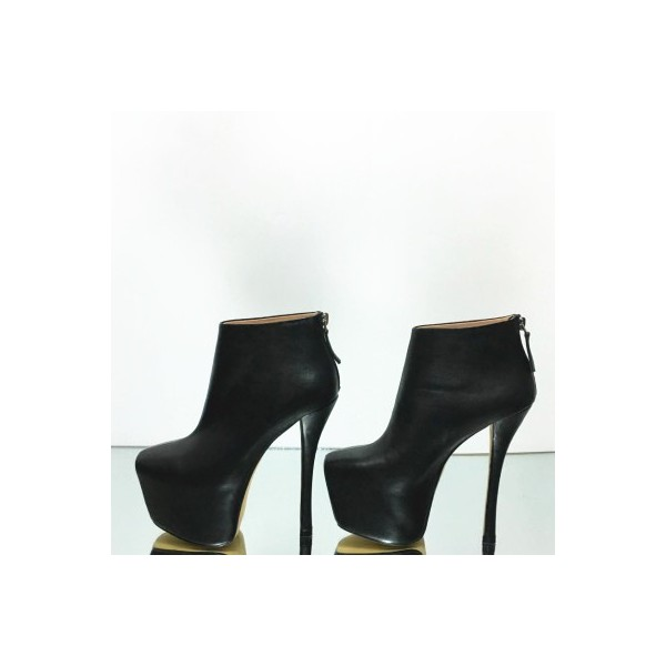 Black Platform Boots Fashion High Heel Booties for Women image 2