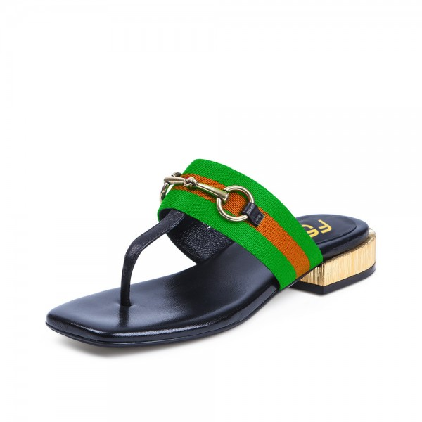 Light Green Summer Sandals Elastic Belt Flip-flops image 1