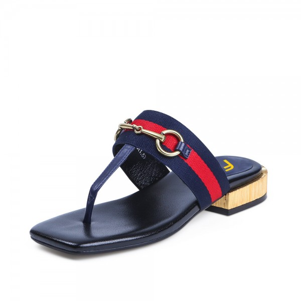 Navy Summer Sandals Elastic Belt Flip-flops image 1