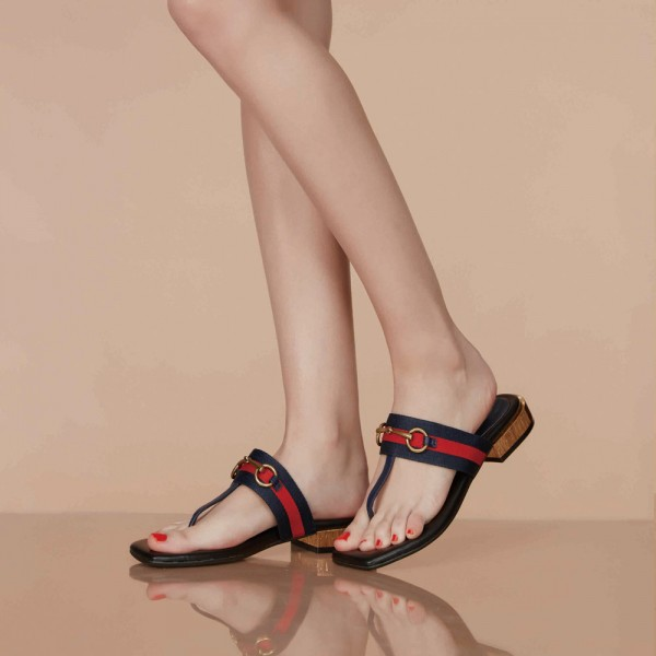 Navy Summer Sandals Elastic Belt Flip-flops image 2