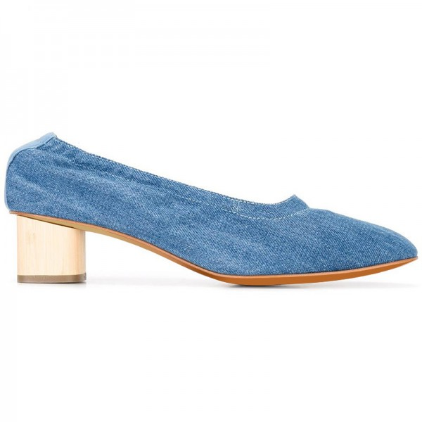 Blue Jean Heels Denim Block Heel Pumps by FSJ image 3