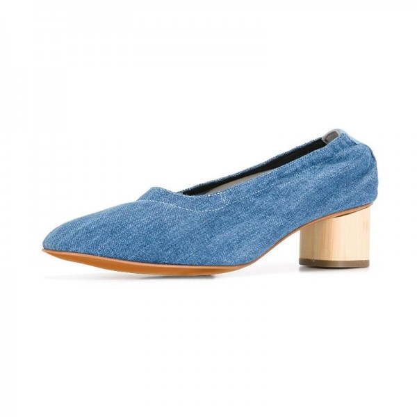 Blue Jean Heels Denim Block Heel Pumps by FSJ image 1