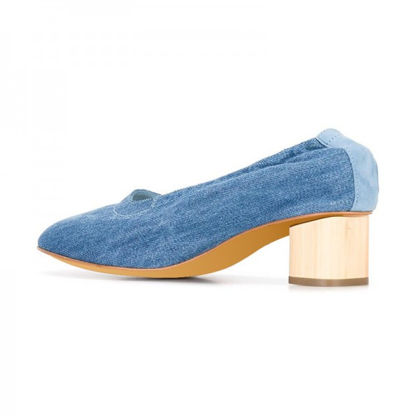 Blue Jean Heels Denim Block Heel Pumps by FSJ image 2