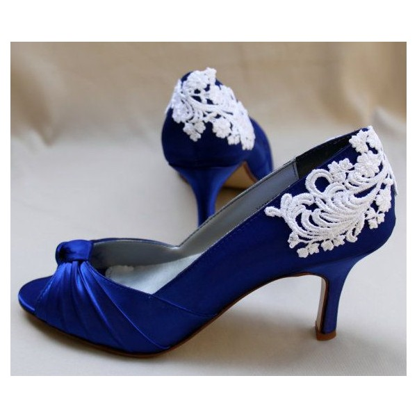 Royal Blue Bridal Heels Satin Pumps Stiletto Heels with Bow image 1
