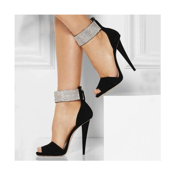 Black and Silver Ankle Strap Sandals Peep Toe Heels Sequined Sandals image 1