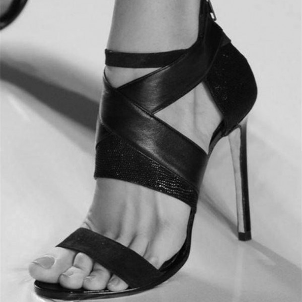Black Strappy Heels Open Toe Sexy Stiletto Heels Sandals for Women image 1