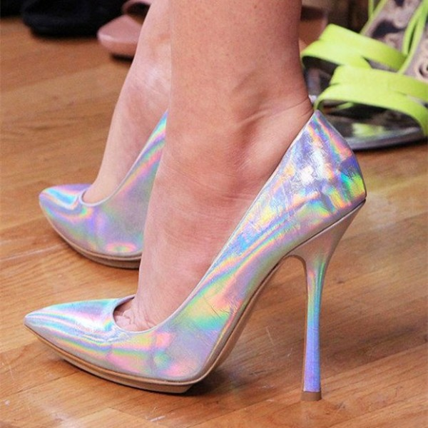 Silver Stiletto Heels Pointy Toe Mirror Leather Pumps image 1