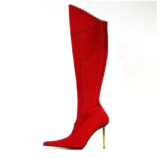 Red Stiletto Boots Pointy Toe Fashion Knee-high Boots image 1
