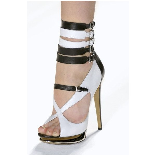 White and Brown Platform Sandals Buckles Open Toe Stiletto Heels image 1