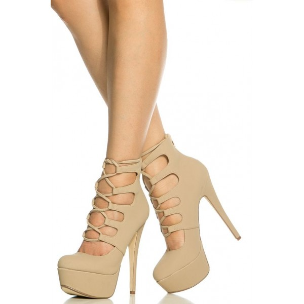 Khaki Lace up Heels Strappy Platform Pumps Stiletto Heels image 1