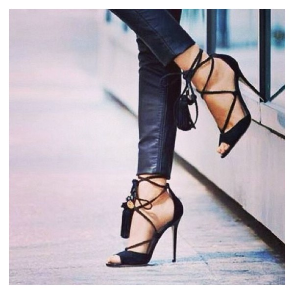 Black Sexy Strappy Sandals Open Toe Suede Stiletto Heels image 1