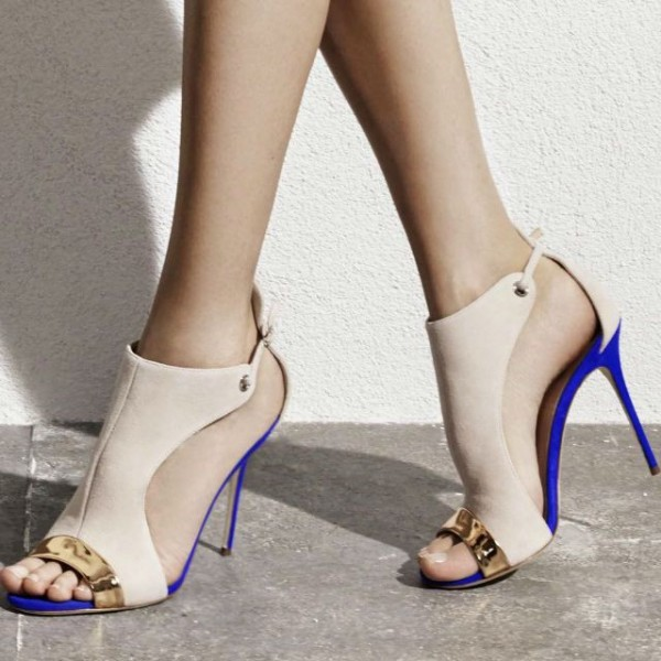 Beige Stiletto Heels Open Toe Suede Sandals image 1