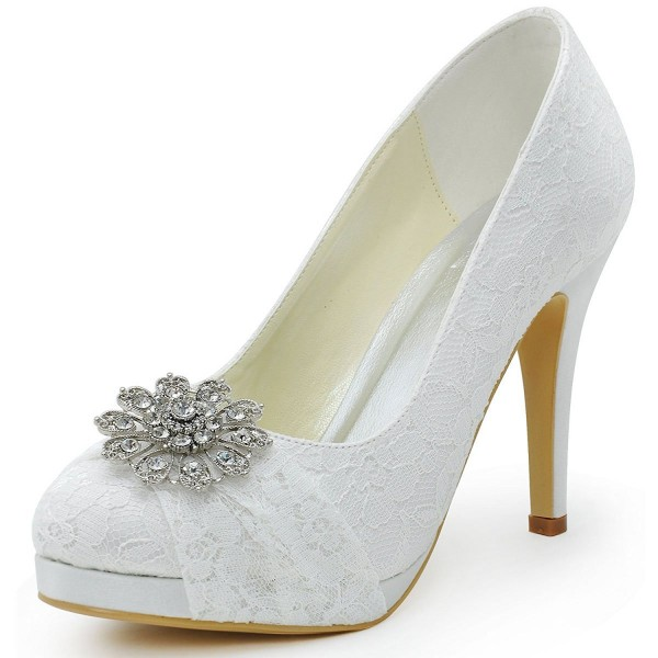 White Bridal Shoes Lace Heels Rhinestone Pumps with Platform image 1