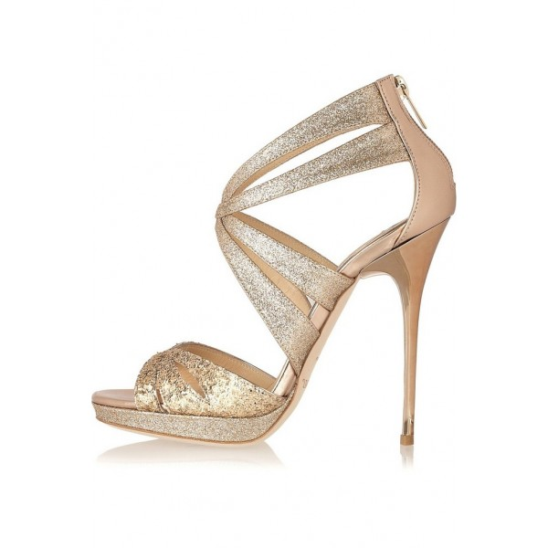 Charming Gold Glitter Shoes Peep Toe Sparkly Stiletto Heel Evening Shoes Image ...