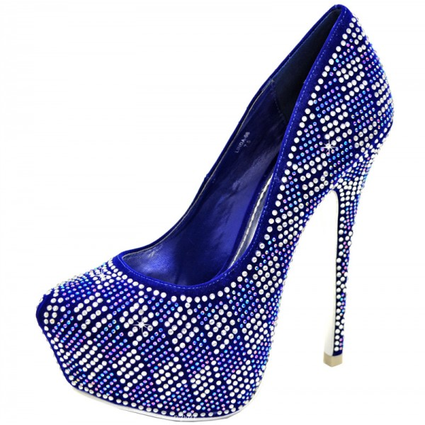 Royal Blue Heels Hotfix Rhinestone Heels Platform Pumps for Party image 1