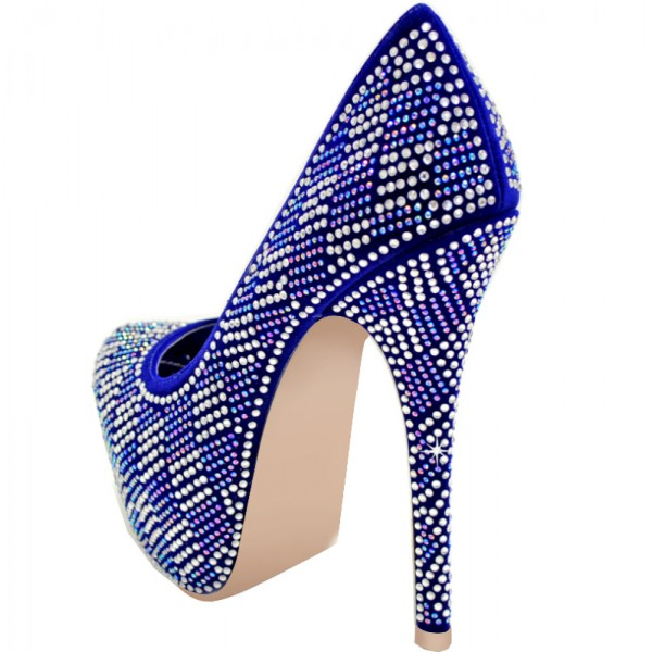 Royal Blue Heels Hotfix Rhinestone Heels Platform Pumps for Party image 2