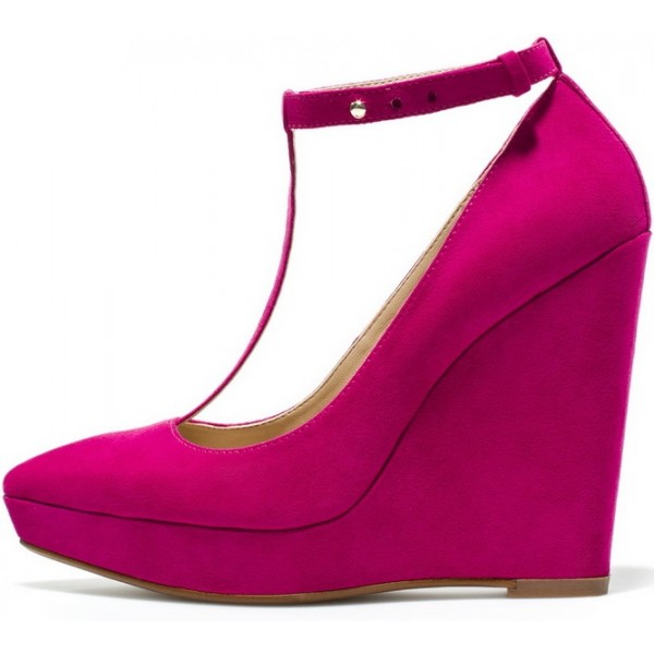 Hot Pink Closed Toe Wedges T Strap Platform Pumps Suede Shoes image 1