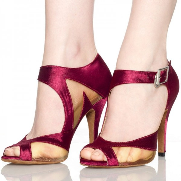 Burgundy Peep Toe Heels Satin Ankle Buckle Chunky Heel Sandals image 1