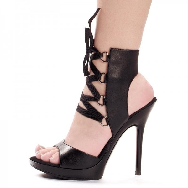 Black Stripper Heels Lace up Platform Slingback Stiletto Heels Sandals image 1