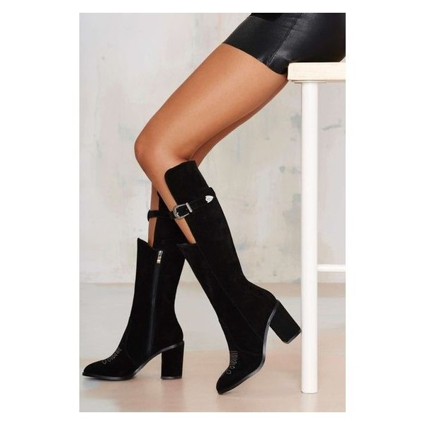 Black Chunky Heel Boots Suede Knee-high Boots with Buckle  image 1
