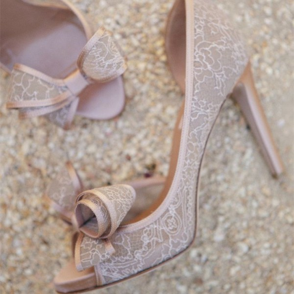 Blush Wedding Shoes Peep Toe Lace Heels with Bow image 1