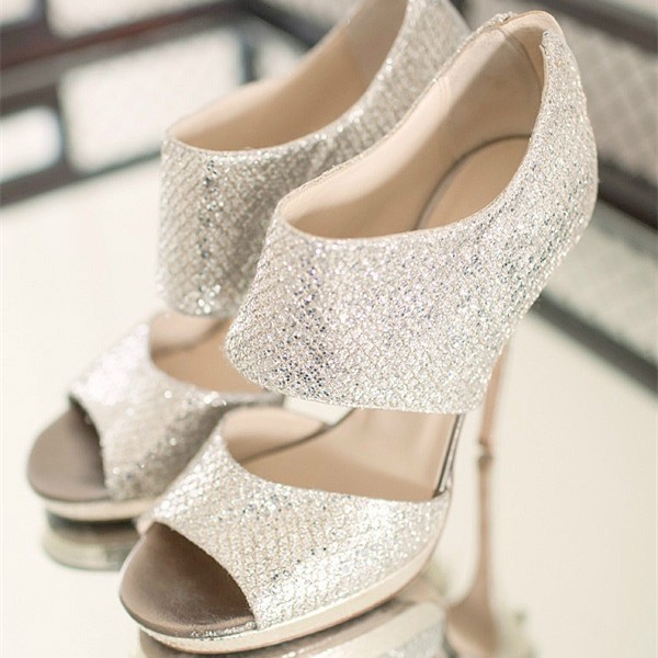 Silver Bridal Heels Sparkly Sandals Cutout Stiletto Heels for Wedding image 1