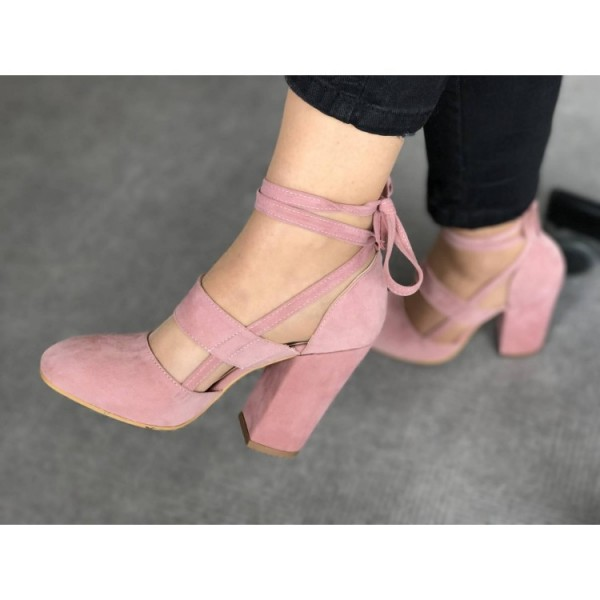 Pink Block Heel Sandals Suede Closed Toe Strappy Heels  image 2