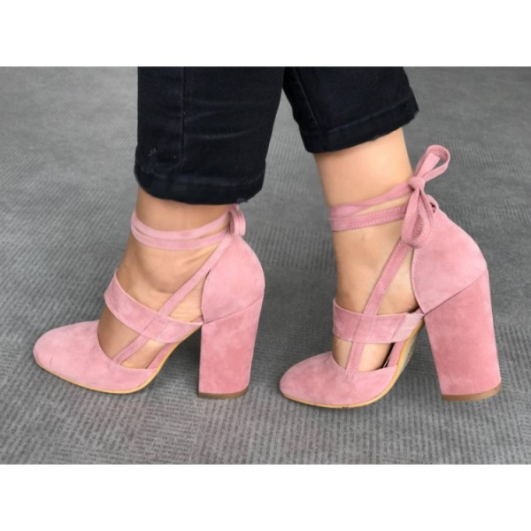 Pink Block Heel Sandals Suede Closed Toe Strappy Heels Pumps image 3