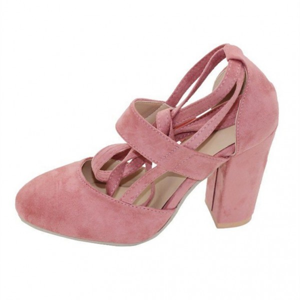 Pink Block Heel Sandals Suede Closed Toe Strappy Heels Pumps image 4