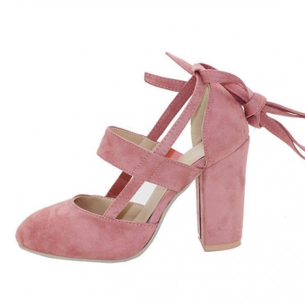 Pink Block Heel Sandals Suede Closed Toe Strappy Heels  image 5