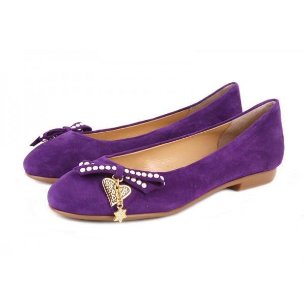 Purple Comfortable Flats Round Toe Suede Cute Shoes image 1