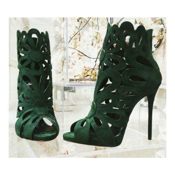 Green Suede Laser Cut Peep Toe Sexy Stiletto Heel Sandals image 2