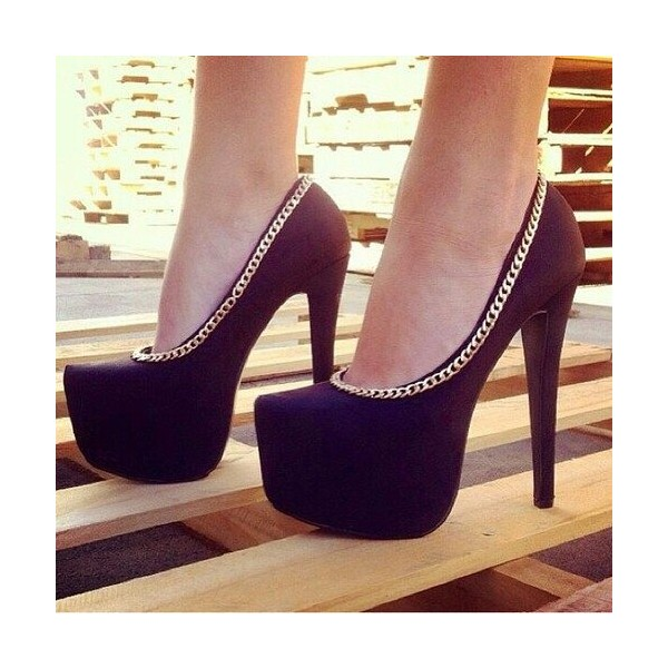 Black Platform Heels Metal Chain Stiletto Heel Pumps image 1