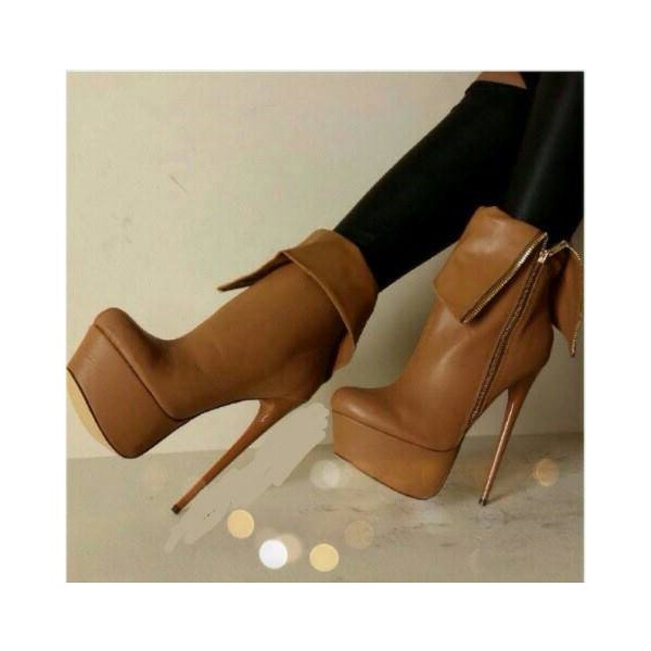 Tan Boots Stiletto Heel Platform Ankle Booties High Heel Shoes image 1