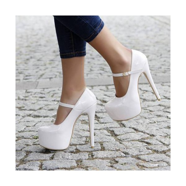 White Mary Jane Pumps Platform Stiletto Heels for Women image 1