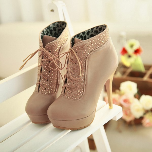 Khaki Platform Boots Lace up Rhinestone Stiletto Heel Booties image 1