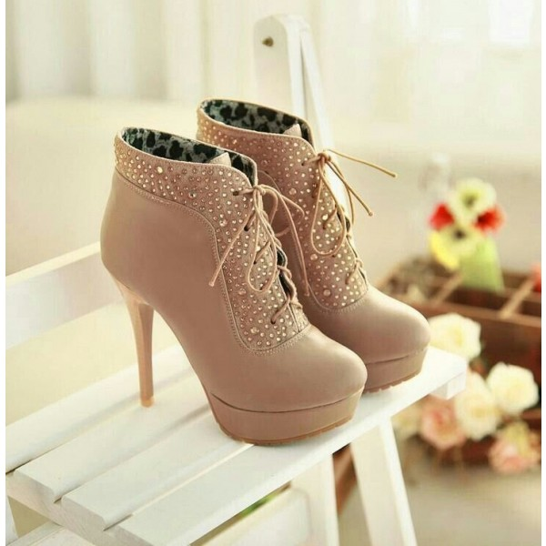 Khaki Platform Boots Lace up Rhinestone Stiletto Heel Booties image 3
