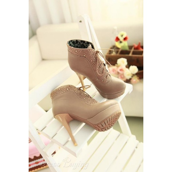 Khaki Platform Boots Lace up Rhinestone Stiletto Heel Booties image 2