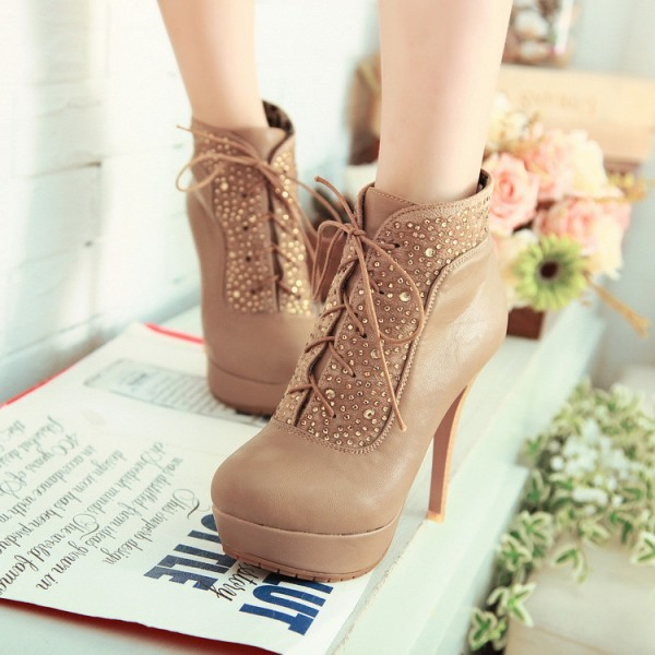 Khaki Platform Boots Lace up Rhinestone Stiletto Heel Booties image 4