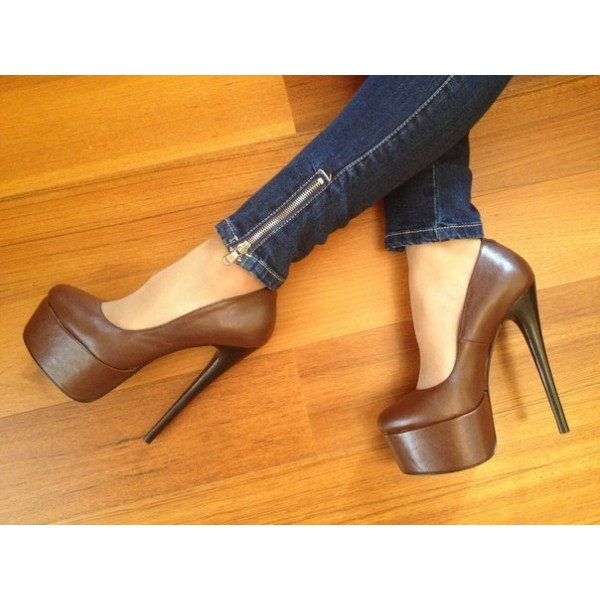 Brown Platform Heels Vintage Pumps High Heel Shoes image 1
