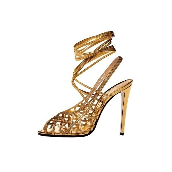 Gold Strappy Sandals Slingback Caged Stiletto Heels image 1