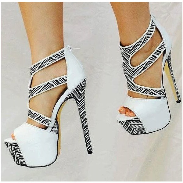 White Platform Sandals Peep Toe Women's Stiletto Heels  image 1