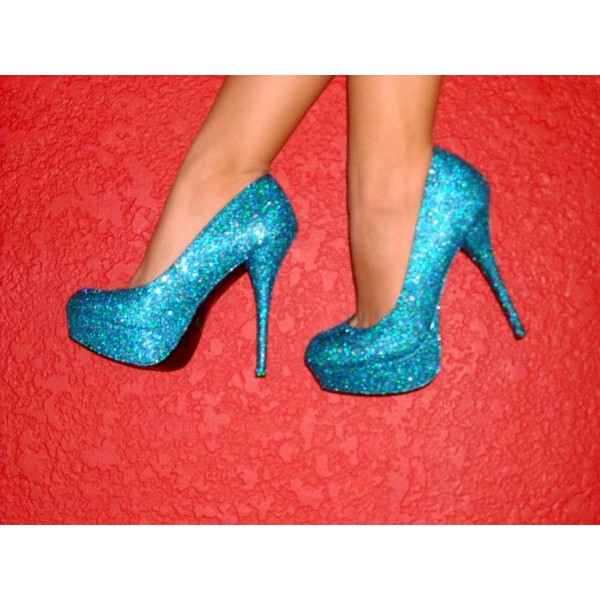 Blue Sparkly Heels Glitter Platform Pumps Evening Shoes for Party ... e46b390b98b4