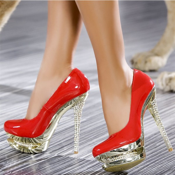 Red Stripper Heels Patent Leather Platform Pumps Evening Shoes image 1