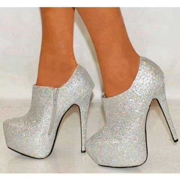 Silver Glitter Shoes Platform Boots Sparkly Ankle Booties  image 1